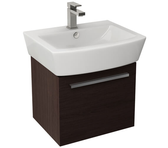 Additional image of Pura Bloque 470mm Wall Hung Single Drawer Unit And 550mm Basin Gloss White