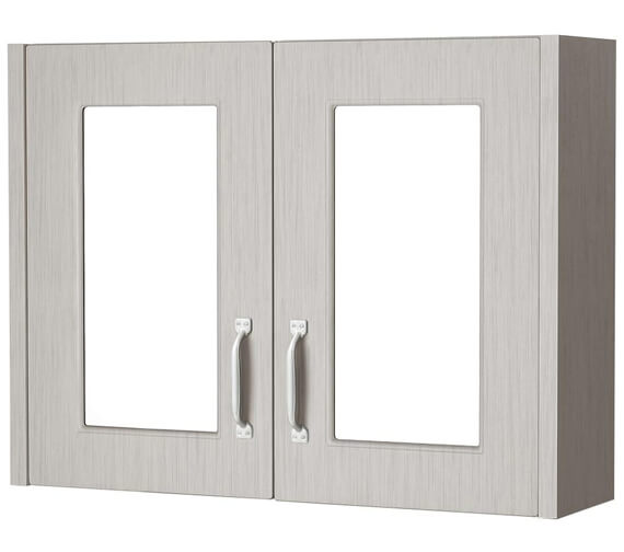 Additional image of Premier York Porcelain White Ash 800mm 2 Door Mirror Cabinet