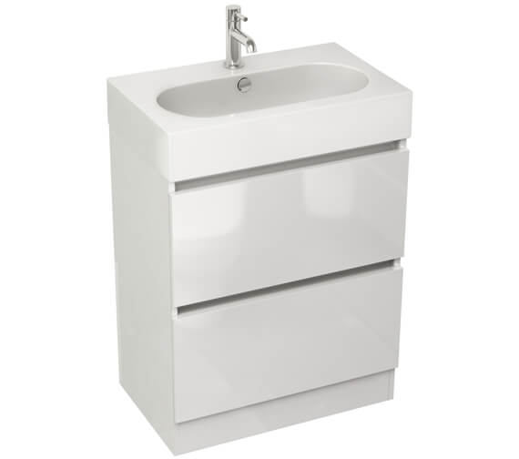 IMEX Echo 600mm Double Drawer Floor Standing Unit And Basin White Gloss