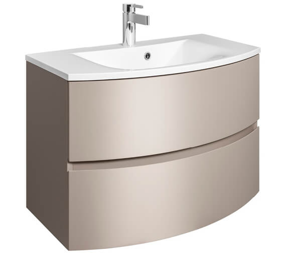 Alternate image of Bauhaus Svelte 800mm Wall Hung Vanity Unit White Gloss And Basin