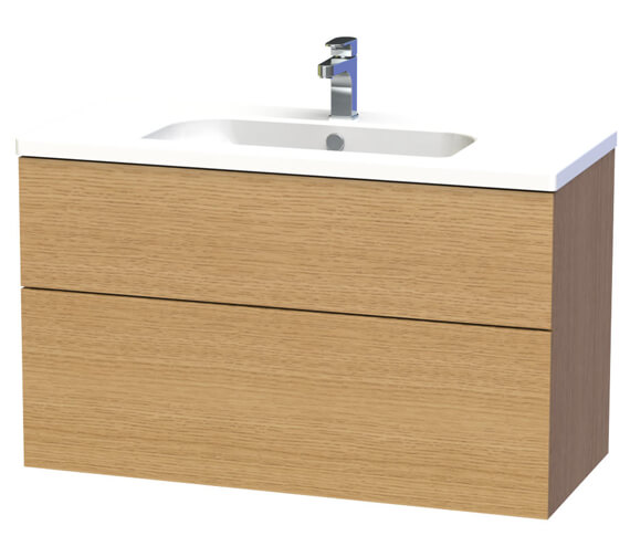 Additional image of Miller New York 100 Two Drawer White Wall Hung Vanity Unit