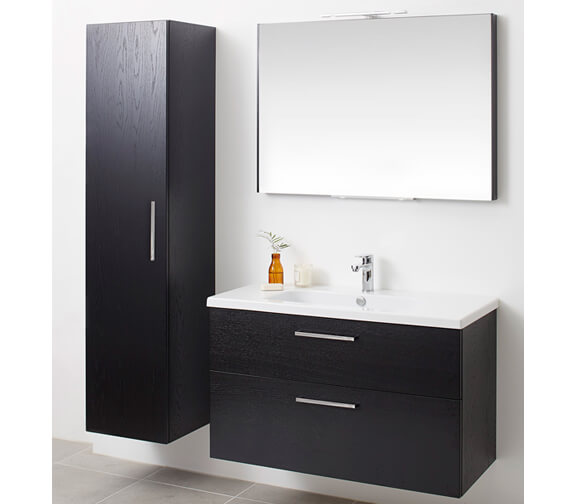 Alternate image of Miller New York 100 Two Drawer White Wall Hung Vanity Unit