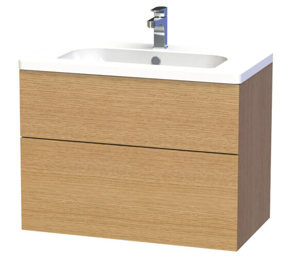 Additional image of Miller New York 80 Two Drawer White Wall Hung Vanity Unit