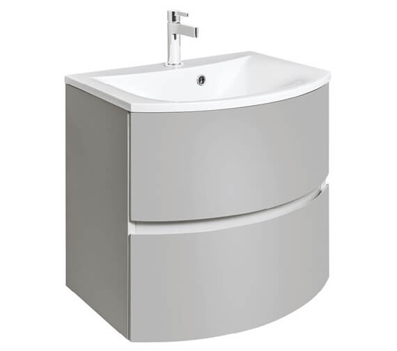 Additional image of Bauhaus Svelte 600mm Wall Hung Vanity Unit White Gloss And Basin