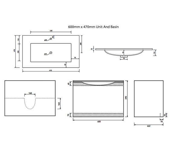 Additional image of Phoenix Malmo Avola Wall Hung Unit And Basin - More Sizes Available