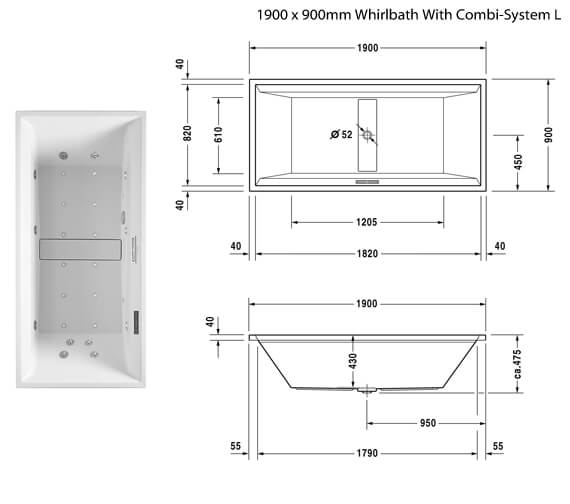 Additional image of Duravit 2nd Floor Built In Double Ended Whirlbath With Combi System L 1800mm