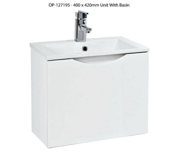 Phoenix Malmo White Wall Hung Unit And Basin - More Sizes Available
