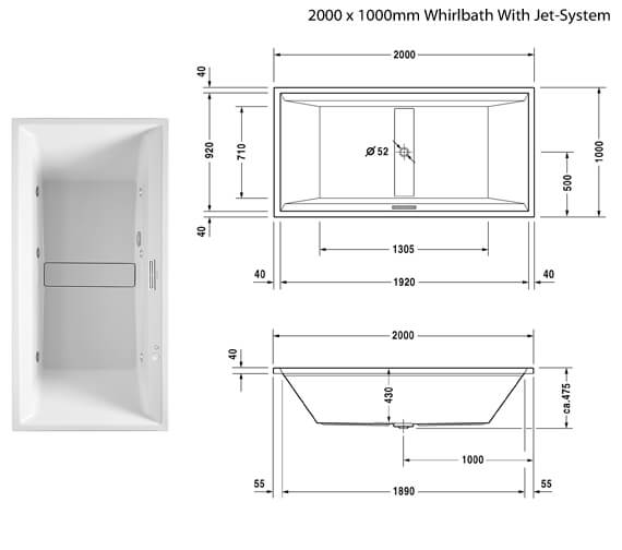 Additional image of Duravit 2nd Floor Built-In Double Ended Whirlbath With Jet-System 1800mm - More Sizes Available