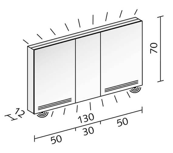 Technical drawing QS-V16607 / GRL 130/3/FL/LED
