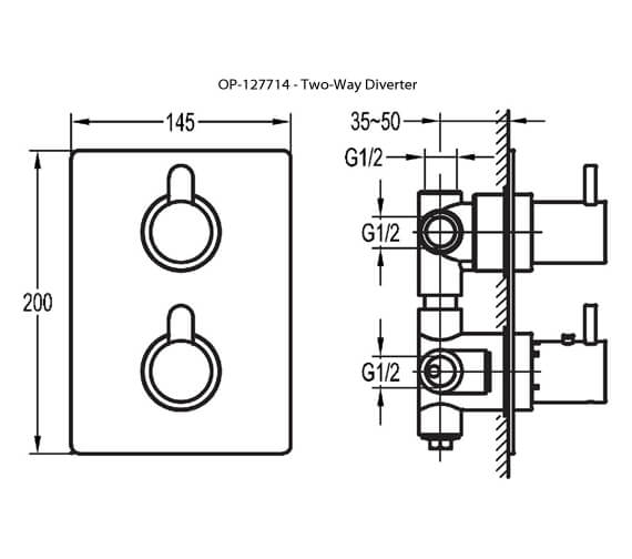 Additional image of Flova Essence Concealed Thermostatic Shower Mixer Valve