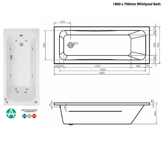 Additional image of Phoenix Crystal Amanzonite Single Ended Whirlpool Bath Length 1600mm - 1700 And 1800mm Also Available