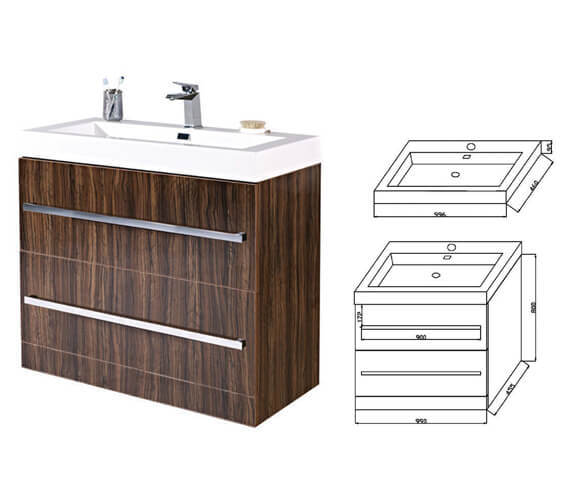 Additional image of Phoenix Vue Ebony Floor Standing Vanity Unit With Basin