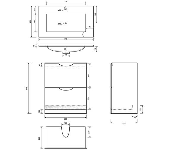 Technical drawing QS-V6698 / FU041