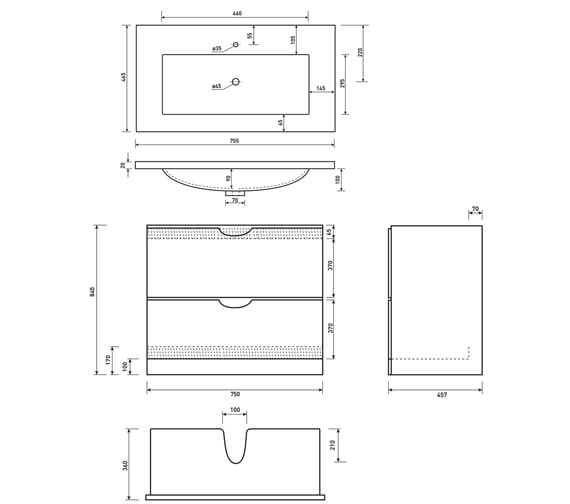 Technical drawing QS-V6700 / FU042