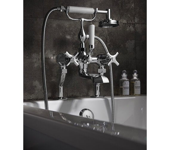 Alternate image of Crosswater Waldorf Deck Mounted Bath Shower Mixer Tap With Kit - Available Handle Variation