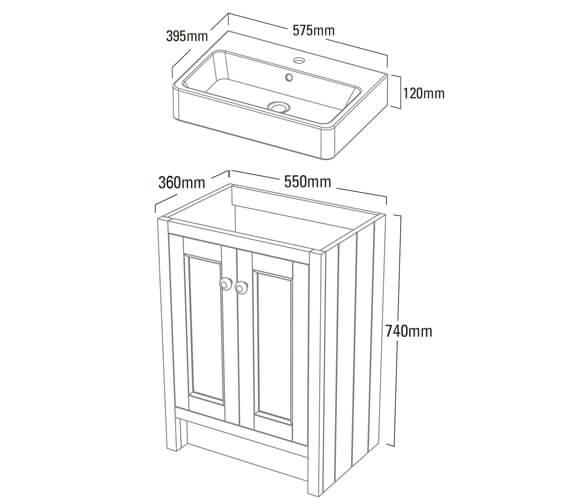 Technical drawing QS-V4177 / HAM550B.W