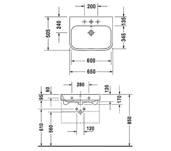 Duravit Happy D2 600 x 505mm Furniture Washbasin