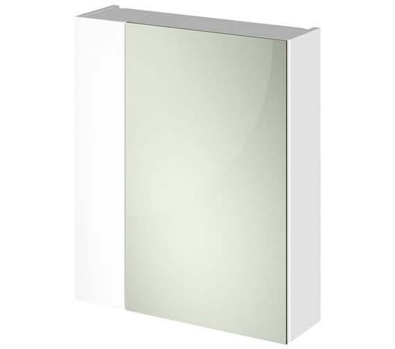Hudson Reed Full Depth 600mm Double Door 75 25 Mirror Cabinet Gloss White