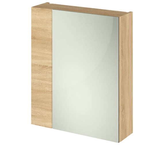 Alternate image of Hudson Reed Full Depth 600mm Double Door 75 25 Mirror Cabinet Gloss White