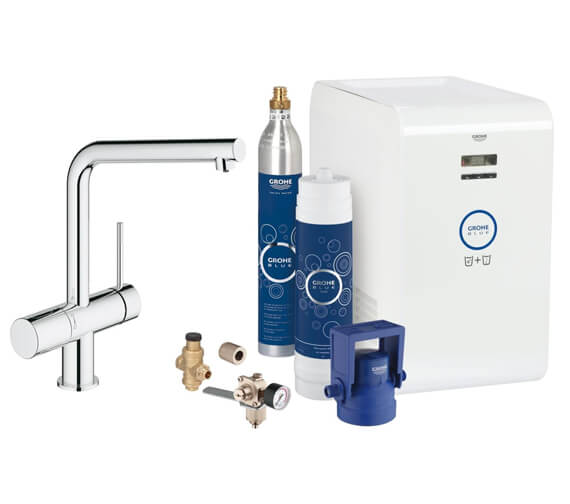 Grohe Blue Minta Chrome Kitchen Sink Mixer Tap With Professional Starter Kit