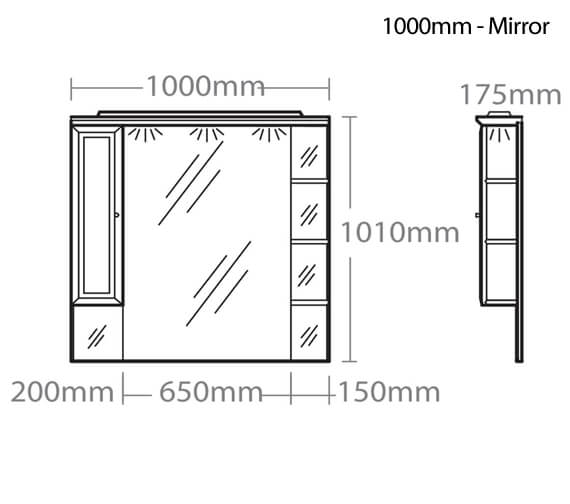 Additional image of Roper Rhodes Valencia Mirror With Shelves 800mm-Cupboard And Canopy - 1000mm Size Also Available