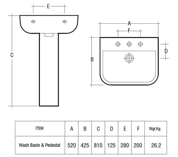Additional image of RAK Series 600 1 Tap Hole Basin 520mm With Pedestal