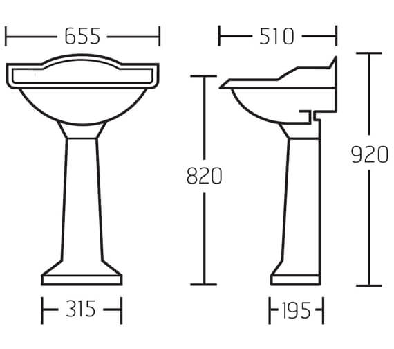 Additional image of Miller Traditional 535mm 1 Tap Hole Ceramic Basin And Full Pedestal