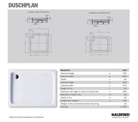 Additional image of Kaldewei Ambiente Duschplan 750 x 900 x 65mm Steel Shower Tray White - More Sizes Available