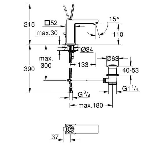 Alternate image of Grohe Eurocube Joy 200mm Height Basin Mixer Tap