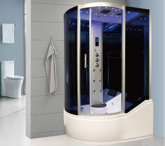 Insignia P Shaped 1700 x 900mm Steam Shower Mirrored Left Hand