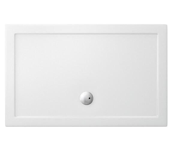 Britton Zamori Rectangle White Shower Tray - Centre Waste