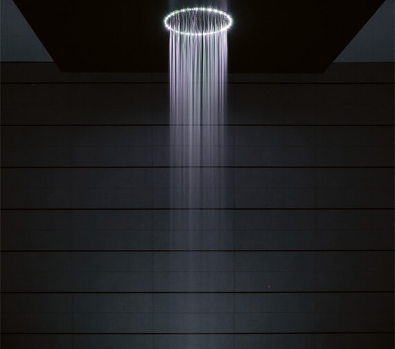 Crosswater Rio Round White Light Shower Head And Ceiling Arm