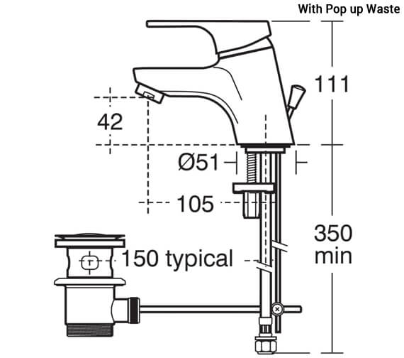 Additional image of Ideal Standard Alto Single Lever Basin Mixer Tap Without Waste