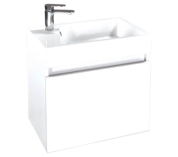 Phoenix Verve 600mm Wall Hung Unit With Mineral Cast Basin Gloss White
