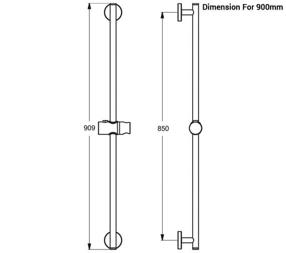Additional image of Ideal Standard Idealrain Slide Rail 600mm - 900mm Optional
