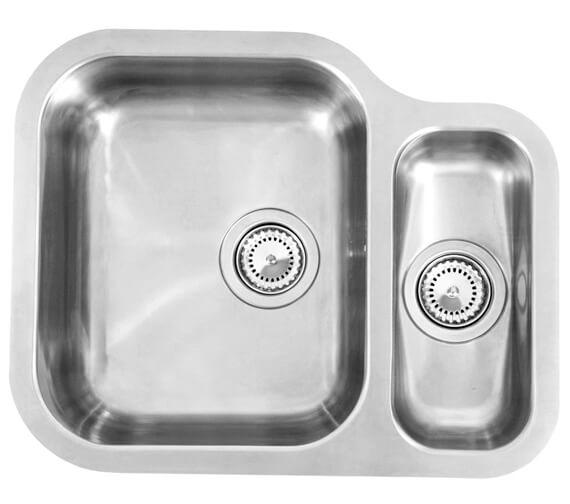 Reginox Alaska 577 x 470mm Stainless Steel 1.5 Bowl Undermount Kitchen Sink - Left Hand Main Bowl
