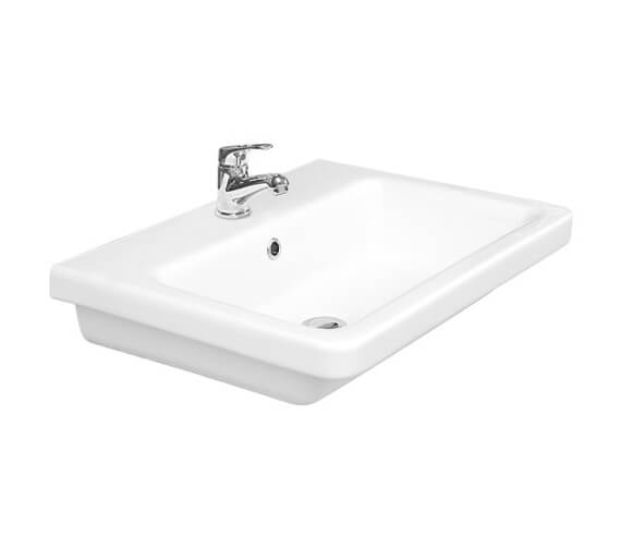 Additional image of Saneux Indigo 500mm Wide Gloss White 1 Tap Hole Washbasin