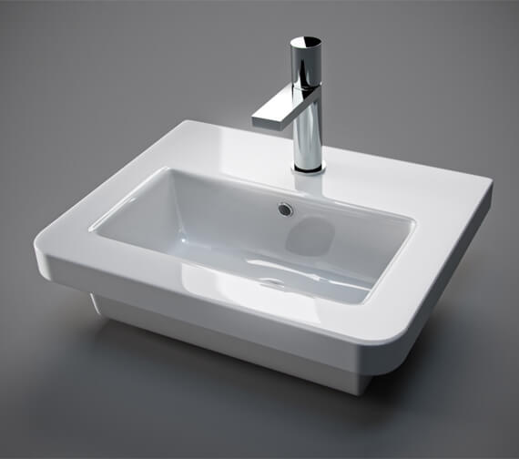 Saneux Indigo 500mm Wide Gloss White 1 Tap Hole Washbasin
