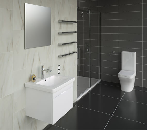 Alternate image of Saneux Indigo 500mm Wide Gloss White 1 Tap Hole Washbasin