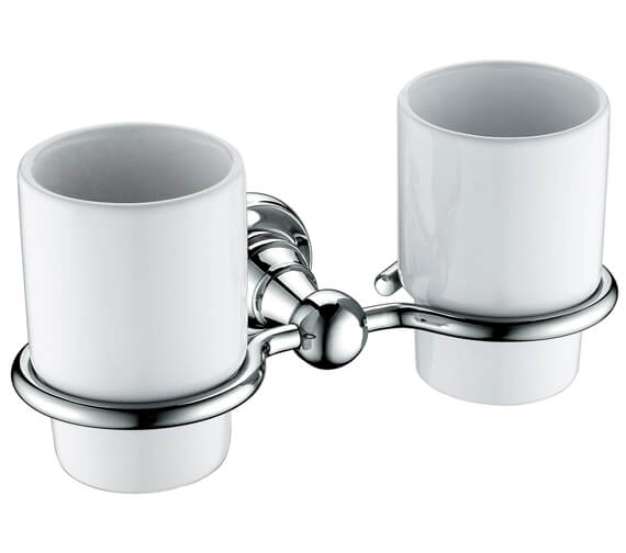 Heritage Holborn Double Tumblers And Chrome Holder