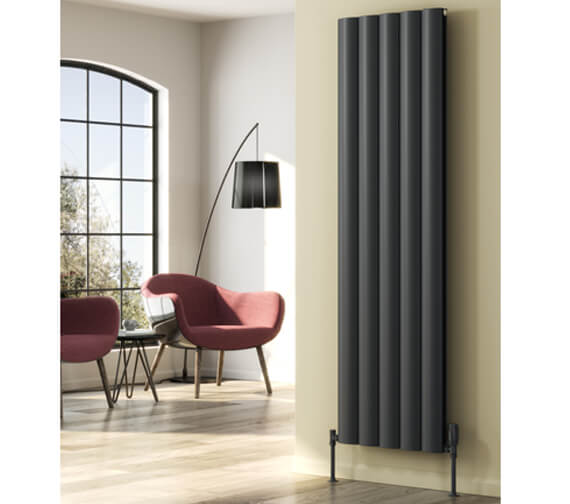 Reina Belva 1800mm High Single Panel Aluminium Radiator White and Anthracite Finish