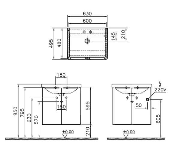 Technical drawing QS-V90565 / 60328
