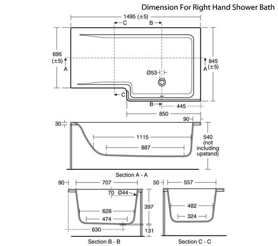 Additional image of Ideal Standard Concept Idealform 1500 x 850mm Square Left Hand Shower Bath - E049501
