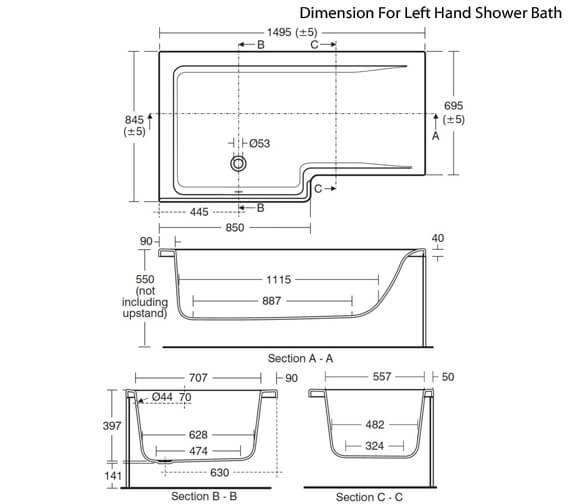 Additional image of Ideal Standard Concept Idealform Plus 1500 x 850mm Square Right Hand Shower Bath