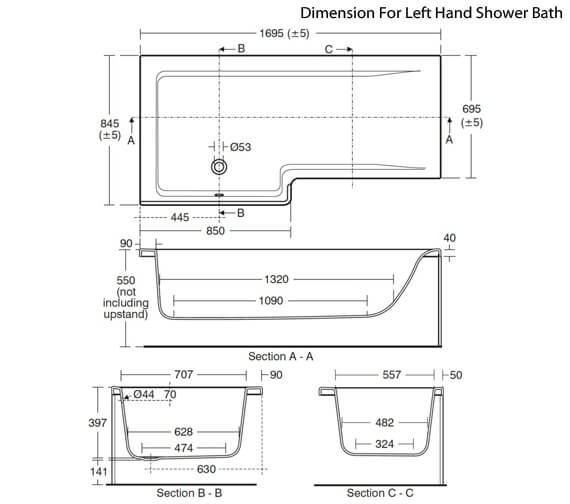 Additional image of Ideal Standard Concept Idealform Plus 1700 x 850mm Square Right Hand Shower Bath
