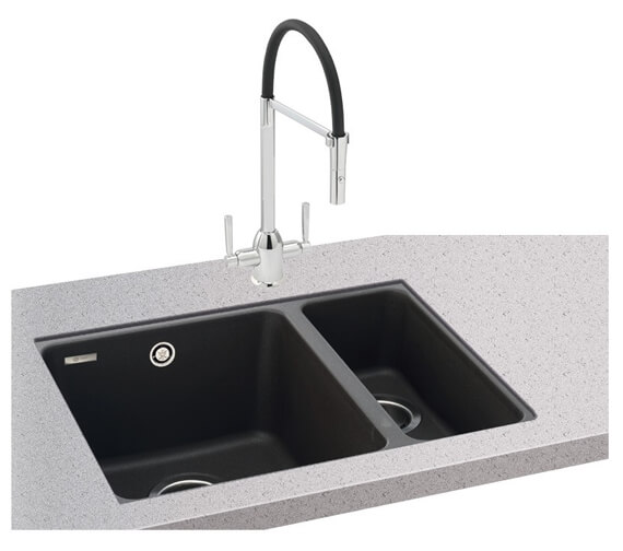 Carron Phoenix Fiji 150-16 Jet Black 1.5 Bowl Undermount Sink
