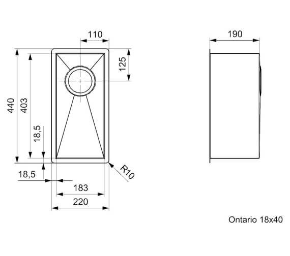 Technical drawing QS-V94078 / ONTARIO 18X40 L