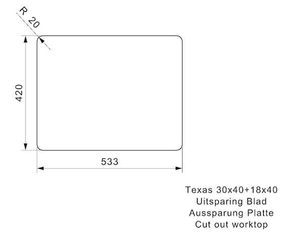 Additional image of Reginox Sinks  TEXAS 30X40+18X40 L