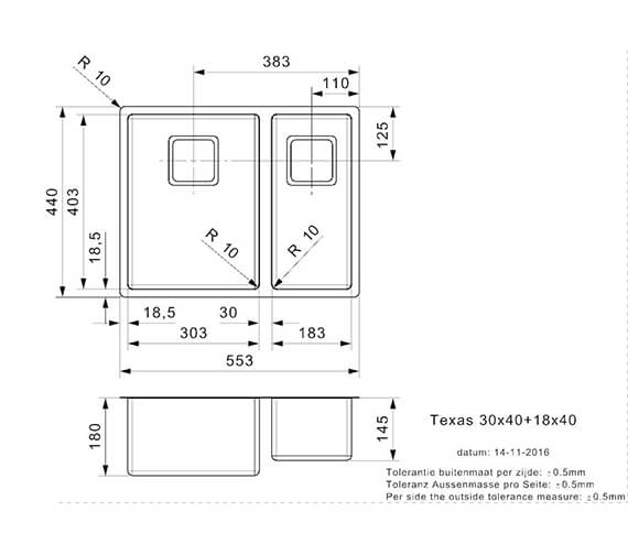 Technical drawing QS-V99003 / TEXAS 30X40+18X40 L