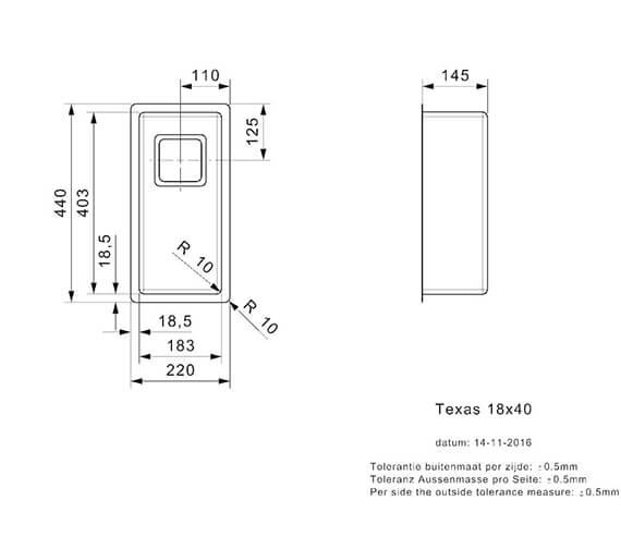 Technical drawing QS-V99002 / TEXAS 18X40 L